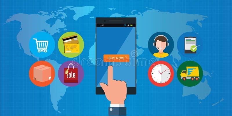 Concept en ligne de mobile de commerce électronique d'achats illustration libre de droits