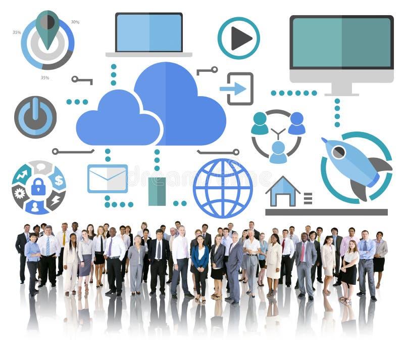 Concept en ligne de nuage de télécommunication mondiale de grand partage des informations photos libres de droits