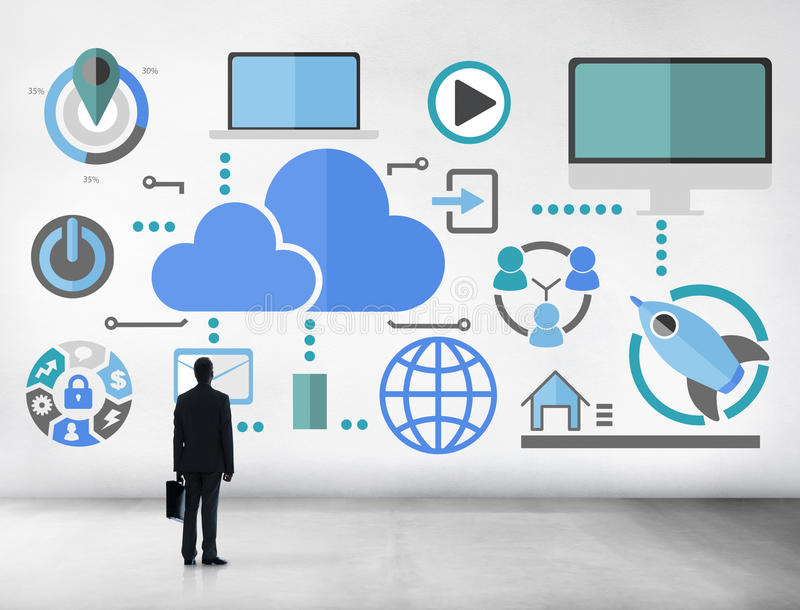 Concept en ligne de nuage de télécommunication mondiale de grand partage des informations image libre de droits