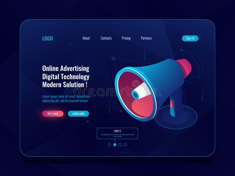 Concept en ligne de publicité futé, icône isométrique de mégaphone de haut-parleur, néon foncé de médias sociaux de promotion illustration libre de droits