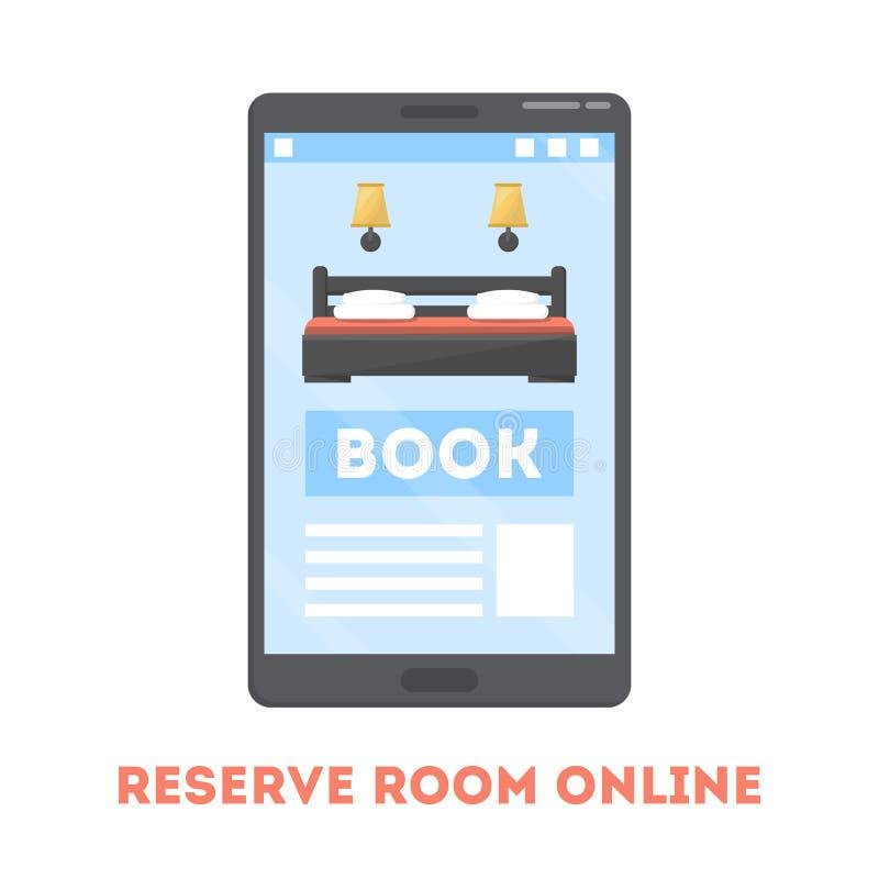 Concept en ligne de réservation de chambre d'hôtel Appartement de livre illustration libre de droits