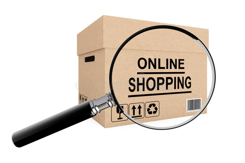 Concept en ligne de recherche d'achats. Boîte en carton pour embarquer avec illustration libre de droits