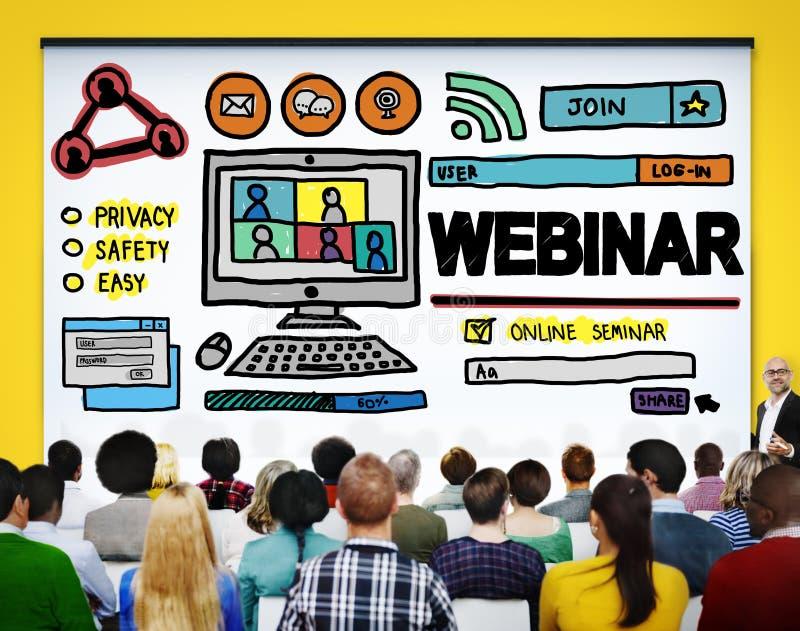 Concept en ligne de télécommunications mondiales de séminaire de Webinar photographie stock libre de droits