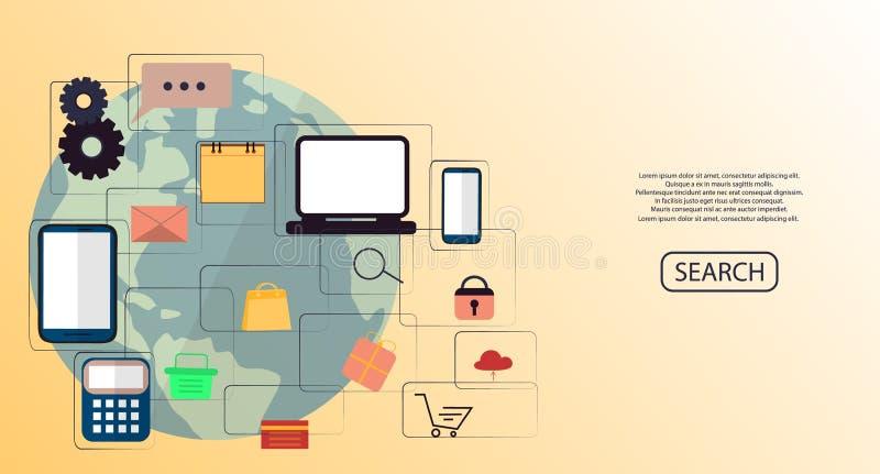Concept en ligne de vente d'Internet Vente de Digital, magasin, achats de commerce électronique Illustration plate illustration libre de droits