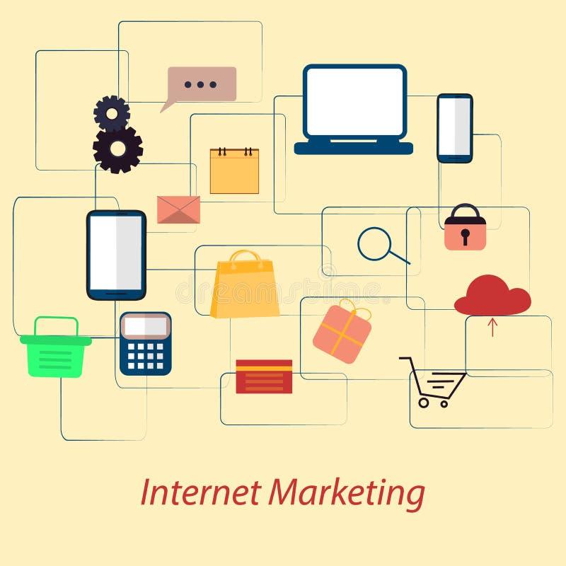 Concept en ligne de vente d'Internet Vente de Digital, magasin, achats de commerce électronique Illustration plate illustration stock