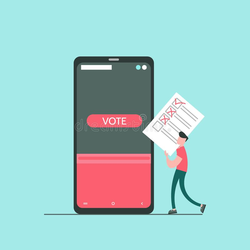 Concept en ligne du vote illustration stock