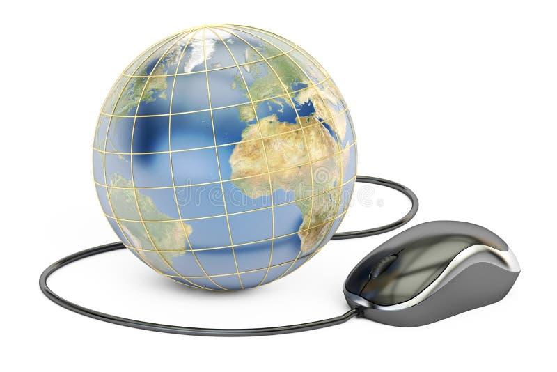 Concept en ligne global d'achats, la terre avec la souris d'ordinateur 3d au sujet de illustration de vecteur