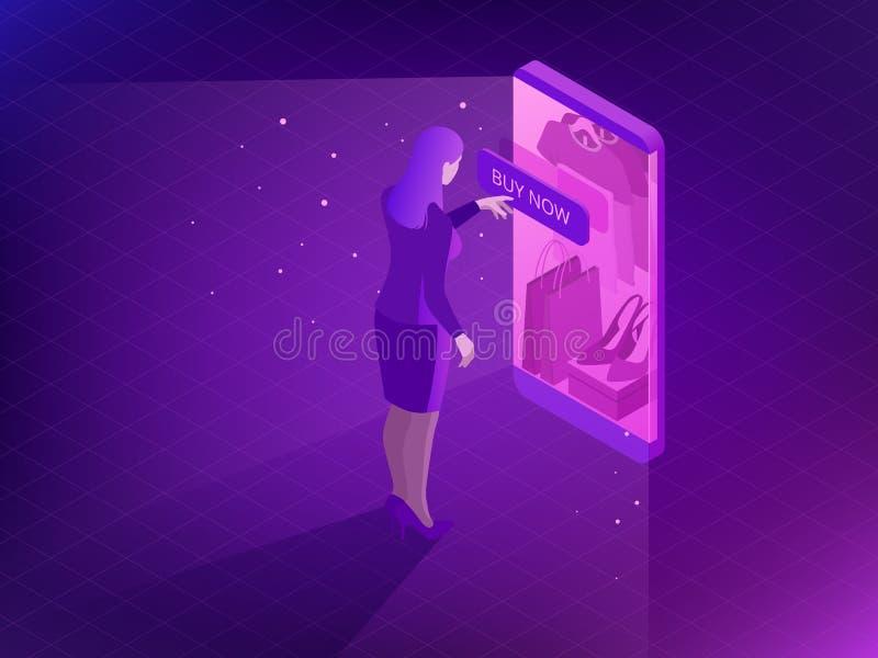 Concept en ligne isométrique d'achats Achats futés de téléphone dans le magasin en ligne Achats d'Internet Achetez les chaussures illustration stock