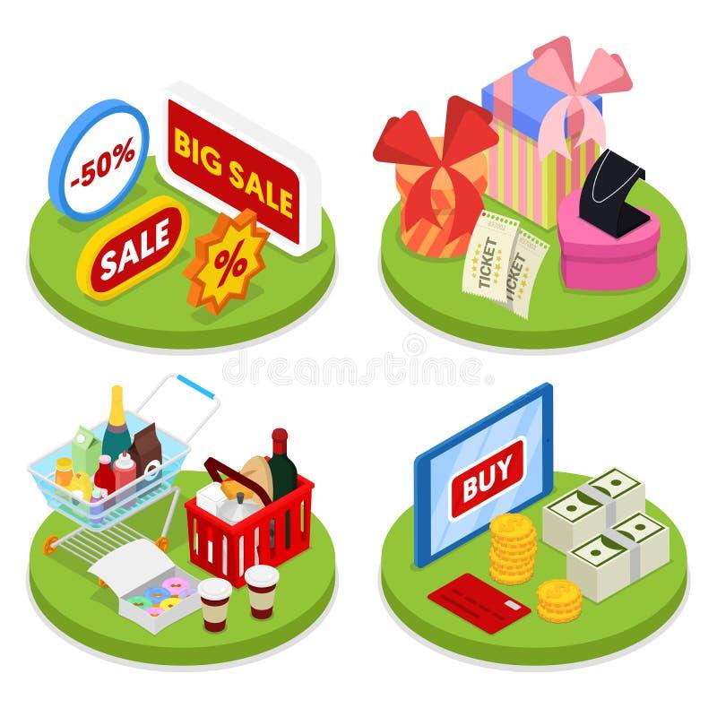 Concept en ligne isométrique d'achats Paiement mobile Affaires électroniques illustration libre de droits