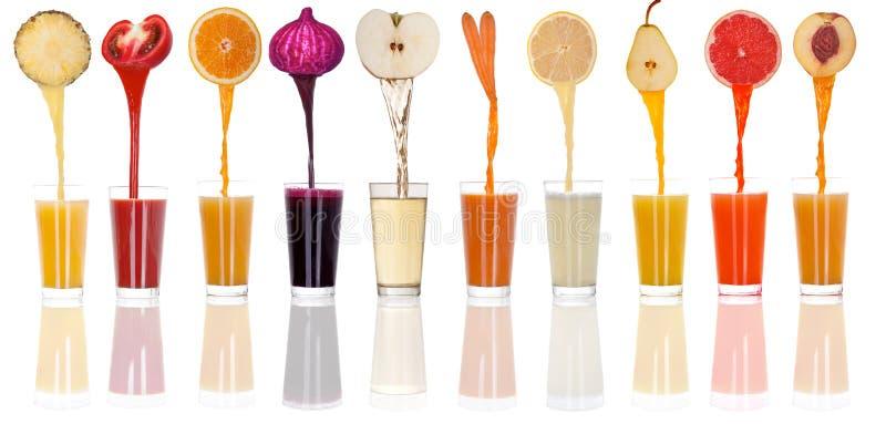 Concept en ontwerp van vers gedrukte fruit en groenten in a stock fotografie
