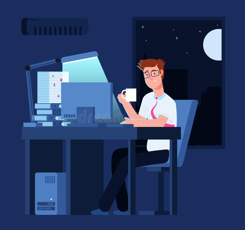 Concept en retard de travail Homme la nuit dans le bureau avec la pile du papier et de l'ordinateur portable Fond de vecteur d'af illustration de vecteur