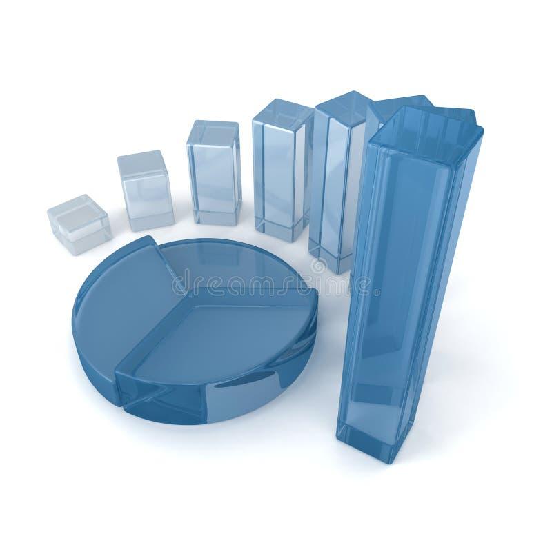 Concept en verre bleu d'affaires de diagramme circulaire de tableau et de diagrammes à barres illustration stock
