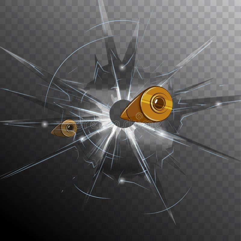 Concept en verre cassé par balle illustration de vecteur
