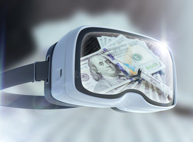 Concept en verre, d'affaires, de technologie, d'Internet et de mise en réseau de réalité virtuelle Cocaïne, repres jetables d'abr image stock