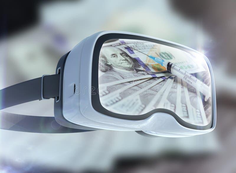 Concept en verre, d'affaires, de technologie, d'Internet et de mise en réseau de réalité virtuelle Cocaïne, repres jetables d'abr photographie stock