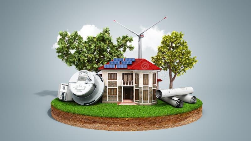 Concept energie - besparingshuis met zonnepanelen en een windmolen stock illustratie