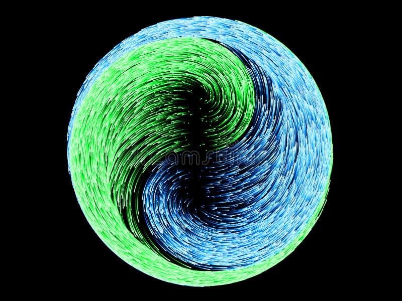 Concept energiedeeltjes en lichte kern 3D Illustratie vector illustratie