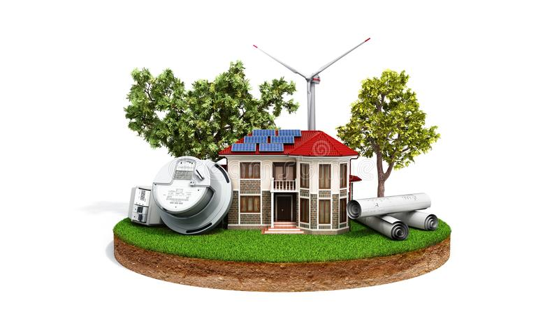 Concept of energy saving house with solar panels and a windmill royalty free illustration