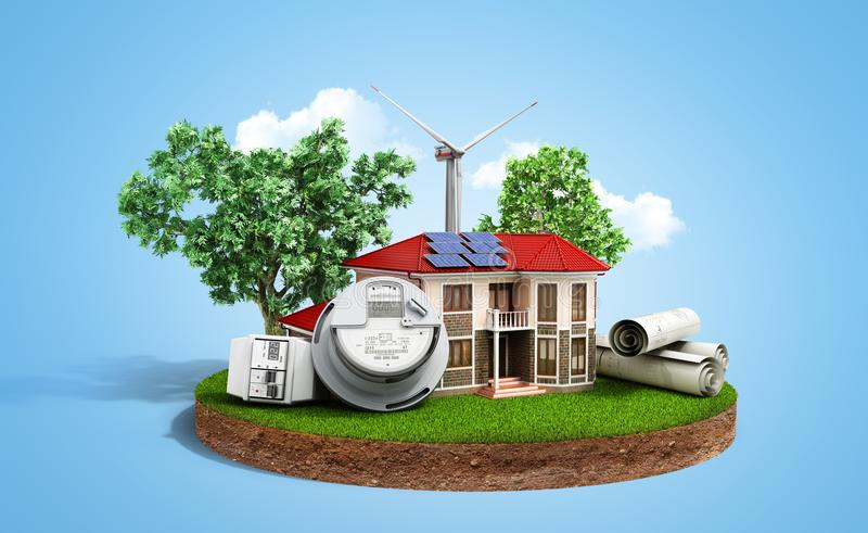 Concept of energy saving house with solar panels and a windmill. On a piece of land near the meter of electricity 3d render vector illustration
