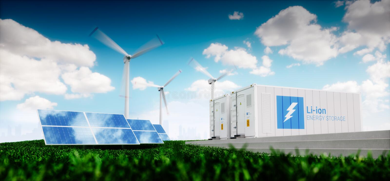 Concept of energy storage system. vector illustration