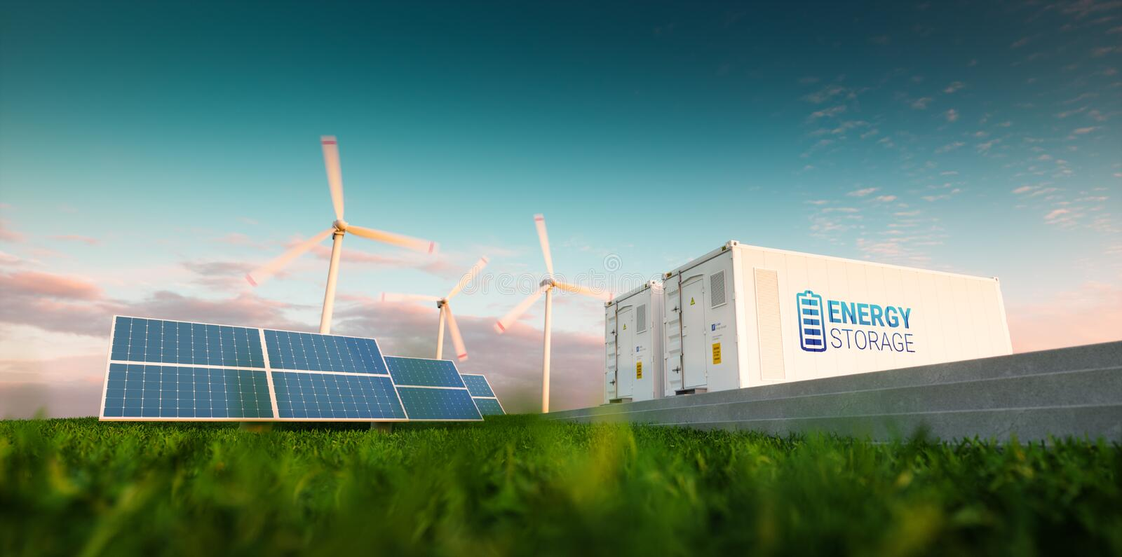 Concept of energy storage system. Renewable energy - photovoltaics, wind turbines and Li-ion battery container in morning fresh n stock illustration