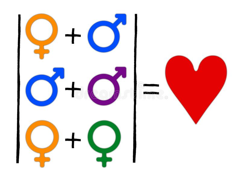 Concept of equation or gender symbol confusion with rainbow arrows, couple selection vector illustration