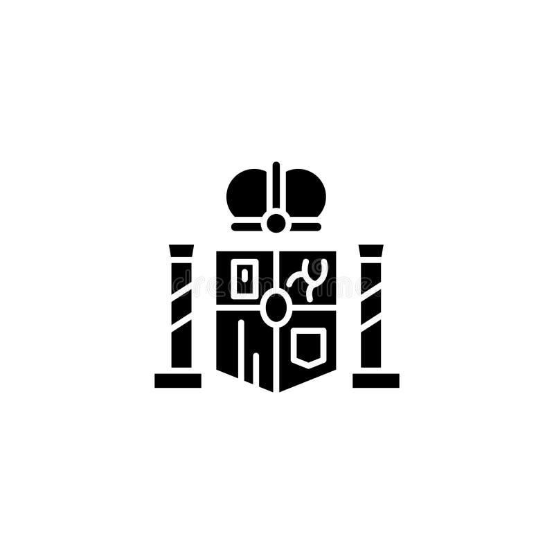 Concept espagnol d'icône de noir d'emblème national Symbole plat espagnol de vecteur d'emblème national, signe, illustration illustration libre de droits