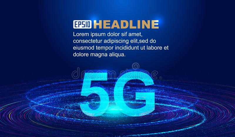 Concept et carte créative du développement rapide de la technologie des communications 5G illustration stock