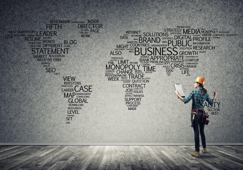 Concept et mondialisation de construction images stock