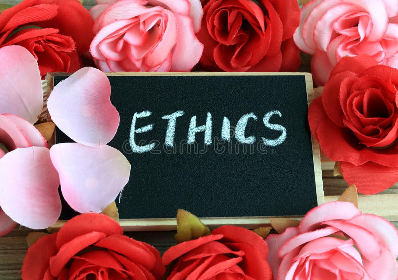 Concept of ethics. Chalkboard with the message of ethics, concept of ethics stock photography