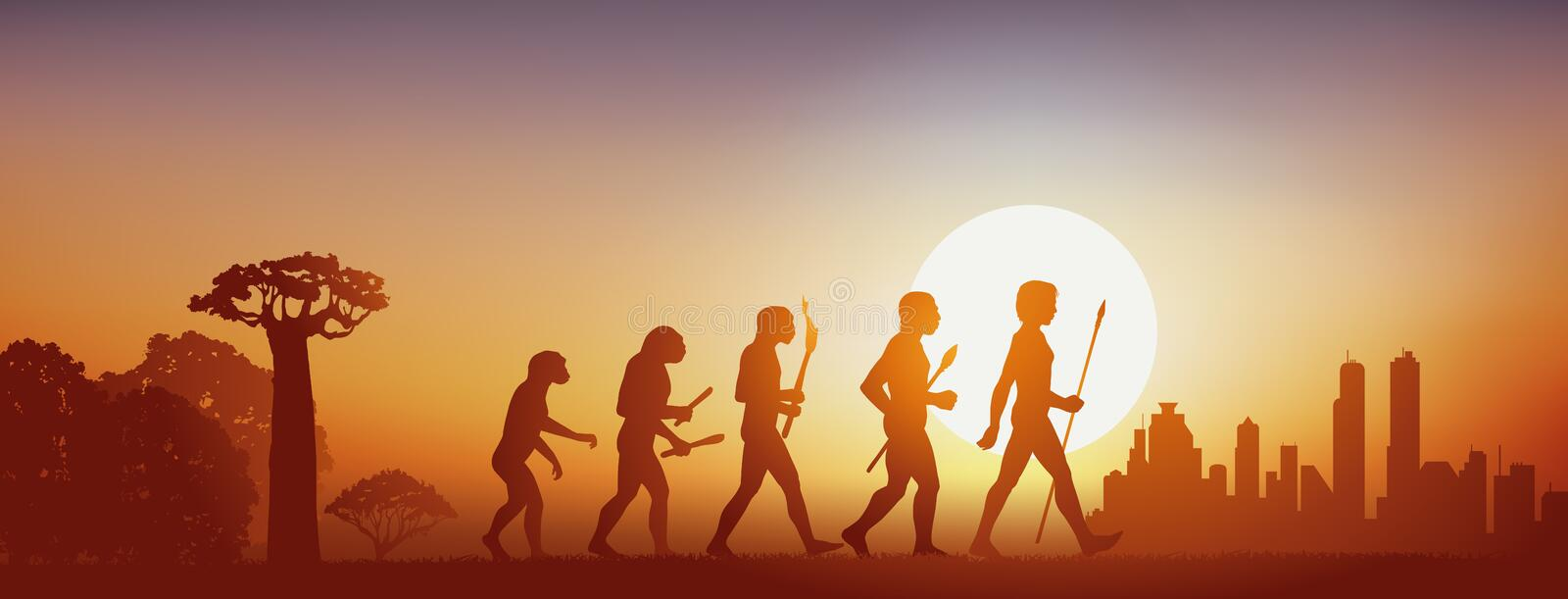 Concept of the evolution of humanity that goes from the forest to civilization. royalty free illustration