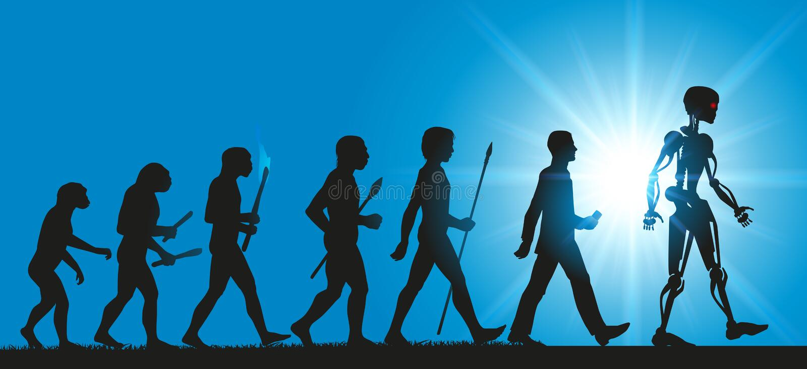 Concept of the evolution of humanity towards robots and artificial intelligence stock illustration