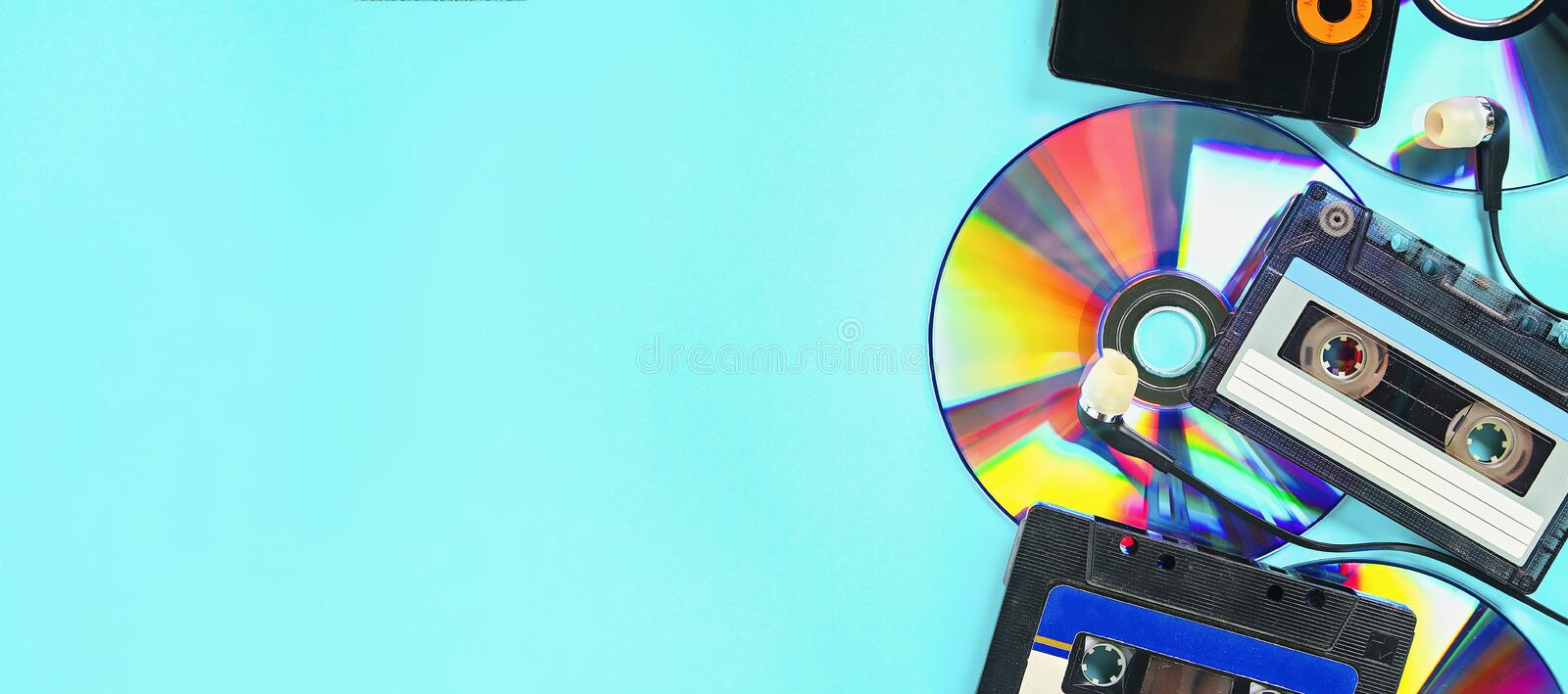 The Concept Of Evolution Music Cassette Cd Disk Mp3 Player Vintage And Modernity Music Support Stock Image Image Of Banner Listening 155290035