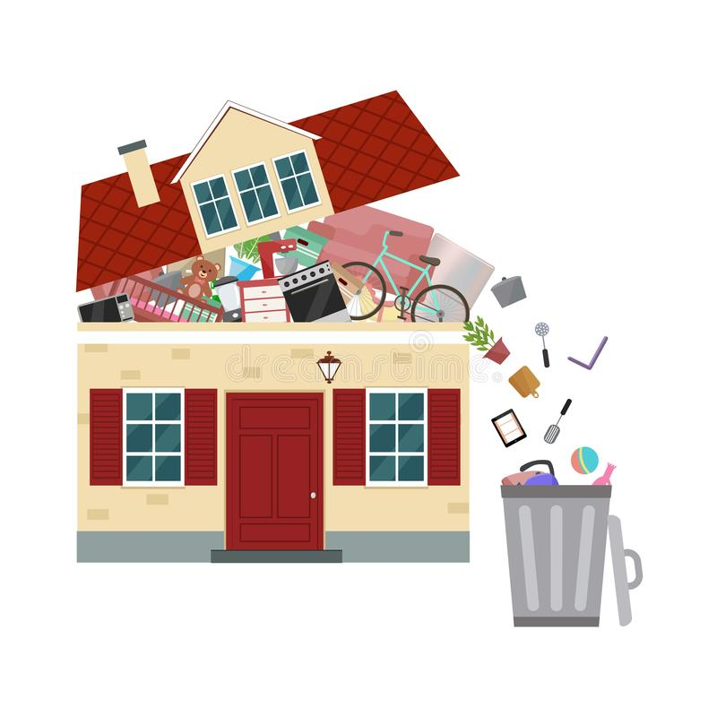 The concept of excessive consumerism. House bursting of stuff. Throwing away things from house. Vector illustration vector illustration