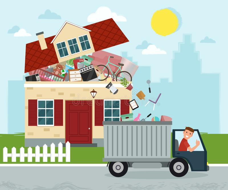 The concept of excessive consumerism. House bursting of stuff. T. Hrowing away things from house. Junk removal. Vector illustration royalty free illustration