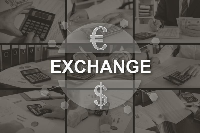 Concept of exchange. Exchange concept illustrated by pictures on background stock photography