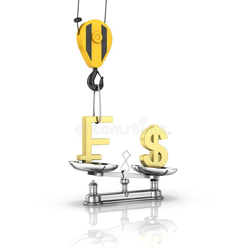 Concept of exchange rate support dollar vs euro The crane pulls the swiss frank up and lowers the dollar on white background with royalty free illustration