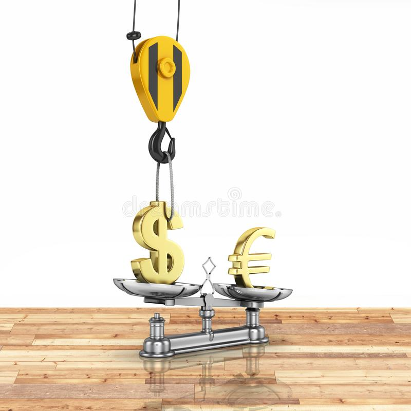 Concept of exchange rate support dollar vs euro The crane pulls the dollar up and lowers the euro on wood floor and white royalty free illustration