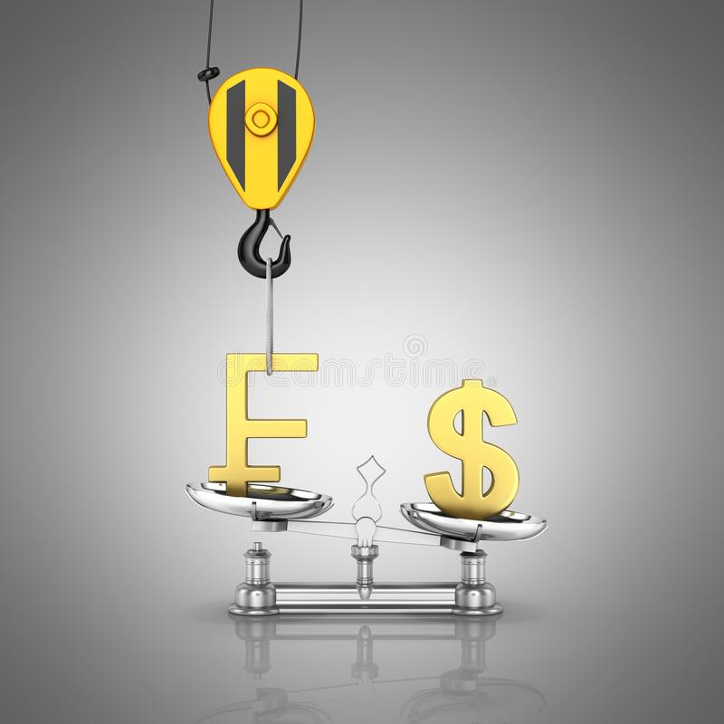 Concept of exchange rate support dollar vs franc The crane pulls the franc up and lowers the dollar on grey gradient background 3d royalty free illustration