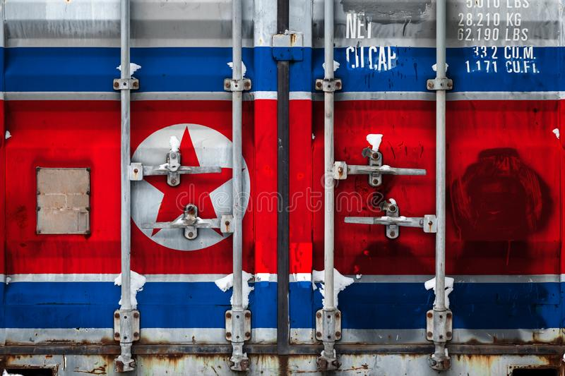 The concept of export-import and national delivery of goods. Close-up of a container with the national flag of North Korea. The concept of export-import North stock illustration