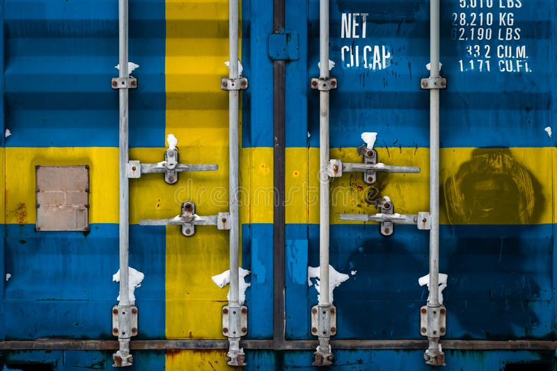 The concept of export-import and national delivery of goods. Close-up of a container with the national flag of Sweden. The concept of export-import Sweden and vector illustration