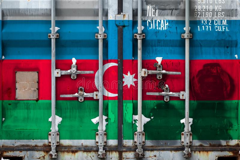 The concept of export-import and national delivery of goods. A closeup of a container with the national flag of Azerbaijan. Concept of Azerbaijani export-import royalty free illustration