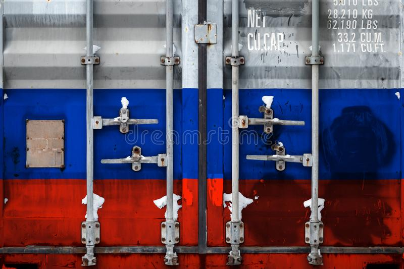The concept of export-import and national delivery of goods. A closeup of a container with the national flag of Russia. The concept of export-import Russia and vector illustration