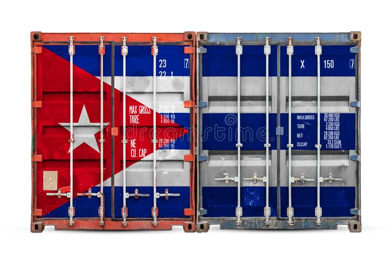 The concept of export-import and national delivery of goods. The concept of Cuba  export-import and national delivery of goods. Close-up of the container with royalty free stock photos