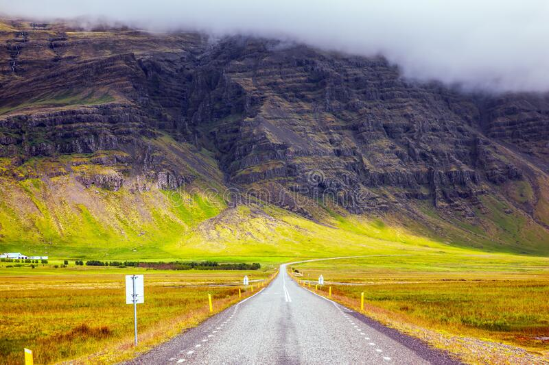 Summer tour in Iceland. The concept of extreme northern tourism. Summer tour in the Nordic countries. The main Iceland highway. Tundra royalty free stock image
