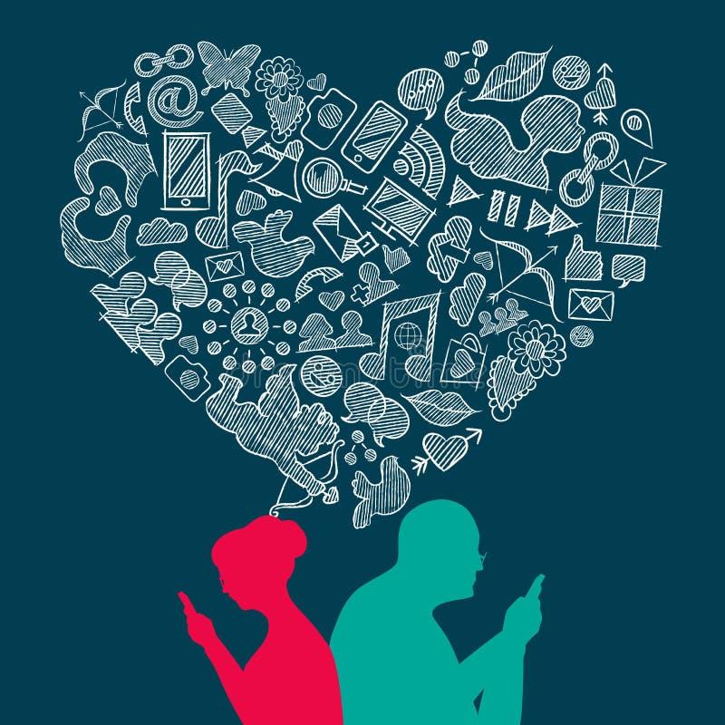 Concept fabriqué à la main d'icônes de media d'amour social d'aîné illustration libre de droits