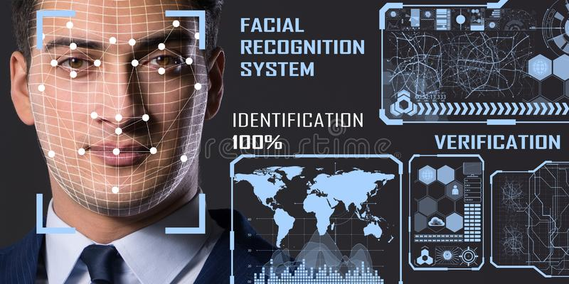 The concept of face recognition software and hardware royalty free stock photos
