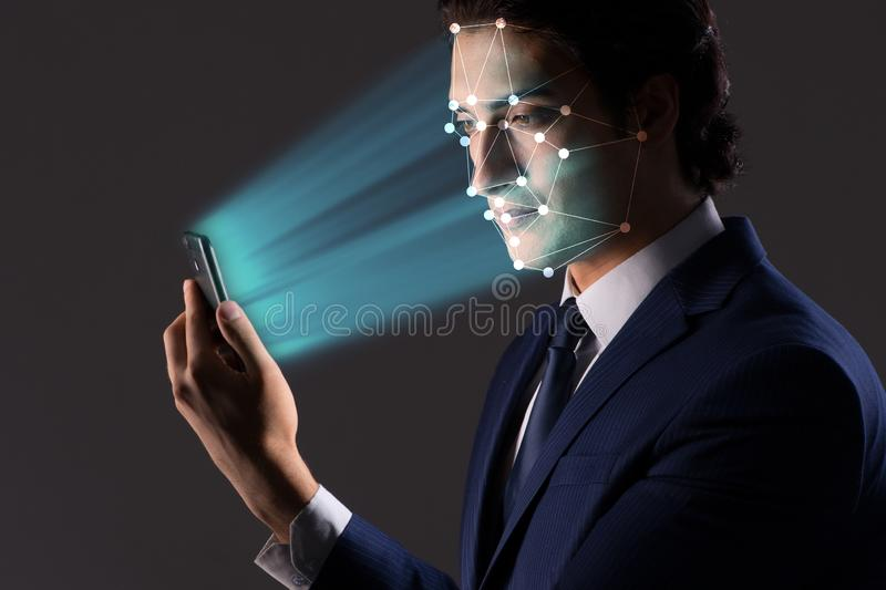 The concept of face recognition software and hardware royalty free stock images