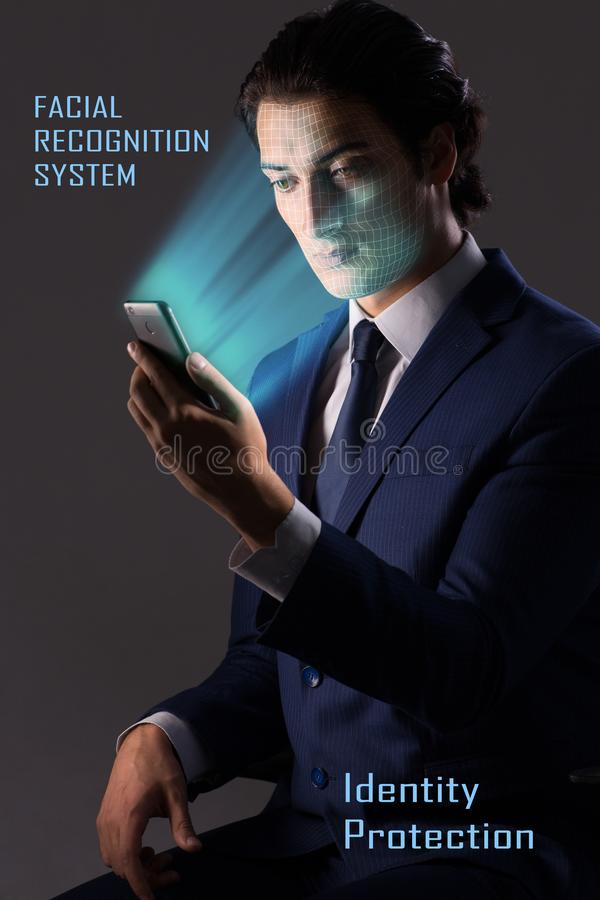 The concept of face recognition software and hardware royalty free stock image