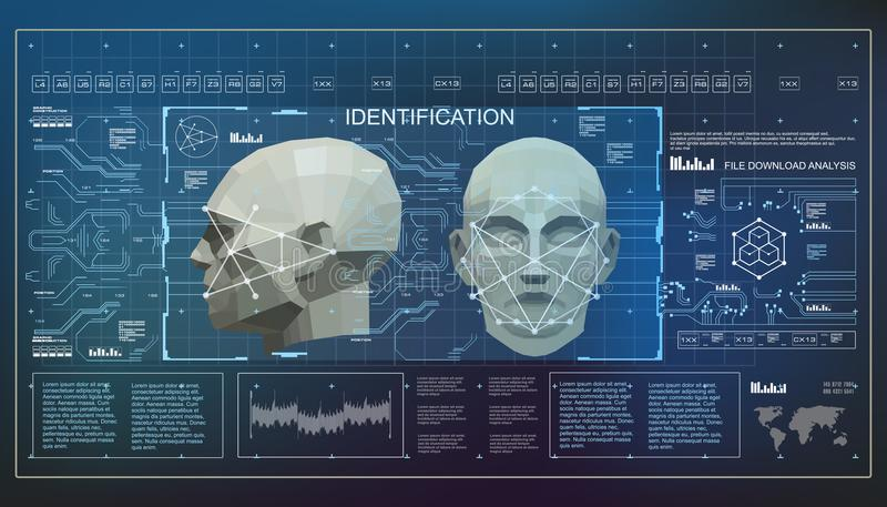 Concept of face scanning accurate facial recognition biometric technology. 3D Low Poly Face Scanning, virtual reality. Concept of face scanning accurate facial stock illustration